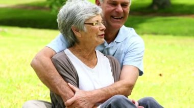 Affectionate senior couple relaxing in the park — Stock Video