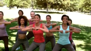 Fitness class doing squat sequence together — Stock Video