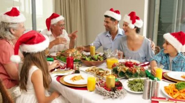 Happy extended family at the christmas dinner table — ストックビデオ