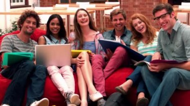 Happy students in common room — Stock Video