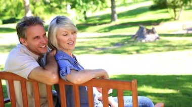 Affectionate couple sitting on park bench chatting — Stock Video