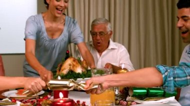 Family having christmas dinner at home — Stock Video