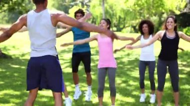 Fitness class doing jumping jacks in the park — Stock Video