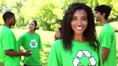 Environmental activist with team behind her — Stock Video