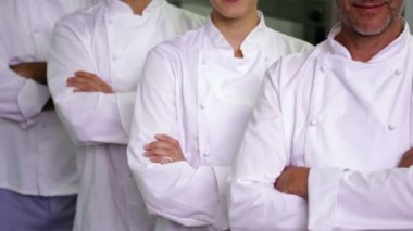 Four cheerful chefs with arms crossed — Stock Video