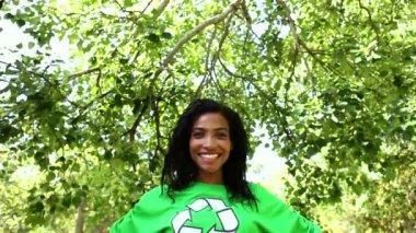 Environmental activist smiling at camera — Stock Video