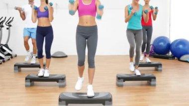 Birlikte adım aerobik sınıf eğitmen ve kaldırma dumbbells ile led — Stok video