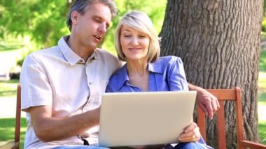 Affectionate couple sitting on park bench using laptop — Stock Video