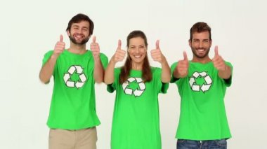 Team of environmental activists smiling at camera showing thumbs up — Stock Video