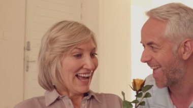 Man giving his wife a yellow rose — Stock Video