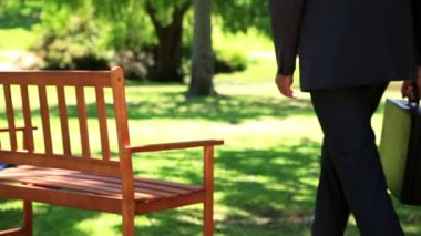 Businessman sitting down on park bench — Stock Video