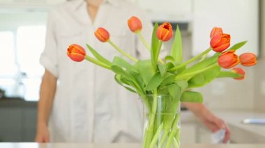 Woman smelling her vase of tulips — Stock Video