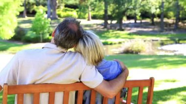 Affectionate couple sitting on park bench — Stock Video