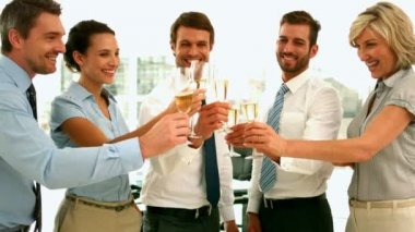 Business team toasting with champagne — Stok video