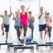 Portrait of smiling people doing power fitness exercise — Stock Photo #42918181