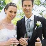 Newlywed couple having champagne — Stock Photo #42918707