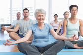 Sporty people in lotus pose at fitness studio — Stock Photo