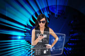 Glamorous brunette using smartphone — Stock Photo