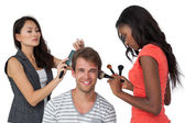 Assistants applying make-up model — Stock Photo