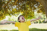 Boy with arms outstretched looking up in park — Stockfoto