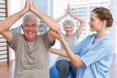 Therapist assisting senior couple with exercises — Stock Photo