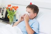 Boy blowing nose into tissue — Stock Photo