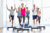 Portrait of smiling people doing power fitness exercise — Stock Photo