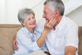 Affectionate retired couple sitting on the sofa — Stock Photo