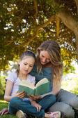 мать и дочь, читая книгу в парке — Стоковое фото