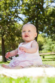 Cute baby sitting on blanket at park — Foto Stock