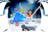 Cheering blonde using laptop with app icons and cloud — Stock Photo
