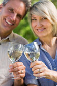 Loving couple toasting wine glasses — Foto Stock