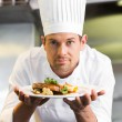 Smiling male chef with cooked food in kitchen — Stock Photo #42920159