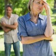 Upset couple in park — Stock Photo #42920883