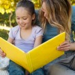 Happy mother and daughter reading a book — Stock Photo