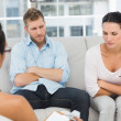 Couple with arms crossed at therapy session — Stock Photo #42926183