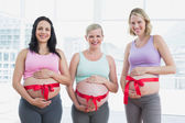 Pregnant women with red bow around bumps — Stock Photo