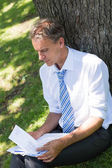 Businessman reviewing documents in park — Stock Photo