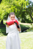 Bride with boxing gloves in park — Stock Photo