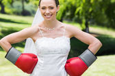 Bride wearing boxing gloves — Stock Photo