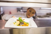 Female chef with cooked food in kitchen — Stock Photo