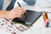 Designer working with graphics tablet — Stock Photo