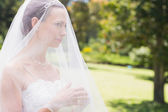 Bride looking away through veil — Stock Photo