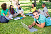 University students studying at campus — Stock Photo