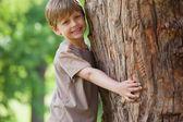 Boy hugging a tree — Stock Photo