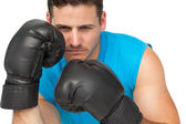 Close-up of a determined male boxer focused on training — Stok fotoğraf