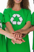 Team of environmental activists putting hands together — Stock Photo