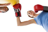 Determined female boxer focused on her training — Stok fotoğraf