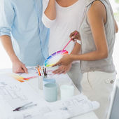 Interior designer showing colour wheel to client — Foto de Stock