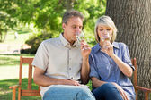 Couple drinking wine in park — Stock Photo